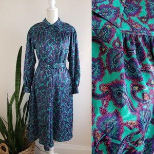 VTG 80's Leslie Fay Paisley Dress